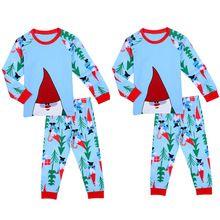 Wholesale Toddler Kids Boys Cotton Warm Christmas Clothes Tree Santa Print Pajamas Set Sleepwear Nightwear(China (Mainland))