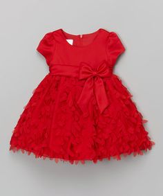 Love this Red Floral Bow Cap-Sleeve Dress - Infant & Toddler on #zulily! #zulilyfinds