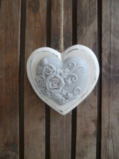 White floral.heart ornament