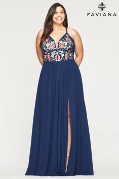 Faviana 9435 Long Formal Halter Plus Size Prom Gown | The Dress Outlet Chiffon Evening Dresses, Long Evening Gowns, Chiffon Dress, Evening Party, Plus Size Prom Dresses, Prom Dresses Online, Short Dresses, Blue Dresses, Chiffon Material