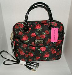 659c8bd16fd0 BETSEY JOHNSON TWEENKLE TOES BLACK CROSSBODY LAPTOP BAG WITH RED ROSES NEW!  Business Major,