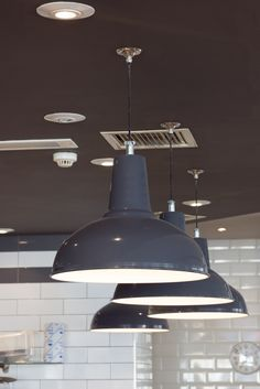Supersized Factory Pendant Lights In Pizza Express Westbourne