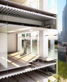 This section shows how a floor-to-ceiling insulating glass wall works to minimize heat entry while maximizing daylight entry. Note also the structural components and support for the ceilings.
