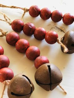 Excited to share this item from my shop: Farmhouse Wood Bead Ornaments with Jingle Bell (Set of Beaded Christmas Ornaments, Noel Christmas, Simple Christmas, Primitive Christmas Ornaments, Glass Ornaments, Diy Ornaments, Diy Christmas Garland, Glitter Ornaments, Vintage Ornaments