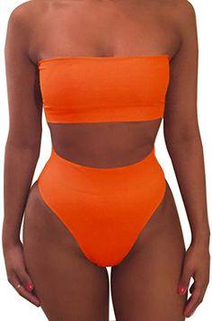 fe15228264c Minetom Femme Sexy Bikini Pure Color Push up Triangle Maillot de Bain  Taille Haute Maillot Bandeau Swimwear Plage Deux Pièces  Amazon.fr   Vêtements et ...