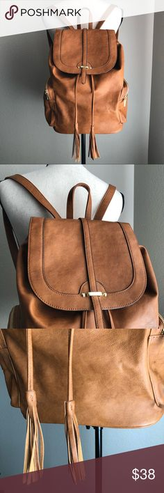 MOSSIMO SUPPLY & CO Faux Leather Backpack Brown Used Once Excellent Used Condition Mossimo Supply Co Bags
