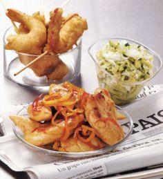 Tapas - Beignets de crevettes au gingembre / minute de poulet laqué au vinaigre / tartare d'avocat au crabe