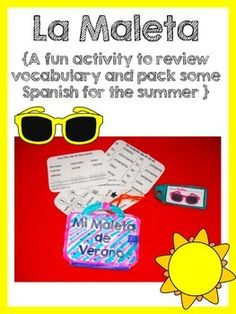 This is a fun activity to review vocabulary and pack some Spanish for the summer. It's a simple and easy craft that your students will have to put together. It includes small worksheets to pack in the suitcase. This product includes color and black & white versions as well as a blank template for the suitcase.  Includes worksheets to review: Days of the week Colors Months Numbers from 1 to 10 Counting by 10's up to 100 Fruits Family Members Clothes