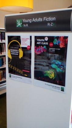 YA collection signage and activities at Ku-ring-gai library