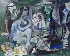 Pablo Picasso, Déjeuner sur l'herbe (after Manet 1862/63), 1961, Oil on canvas, 60 x 73 cm, Collection of the Ludwig Museum, c/o Beeldrecht Amsterdam.