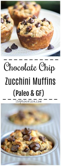 These Chocolate Chip Zucchini Muffins are super moist, healthy and perfect for breakfast or snacking. An easy recipe loaded with chocolate & zucchini. Gluten Free Zuchinni Muffins, Veggie Muffins, Chocolate Zucchini Muffins, Paleo Chocolate Chips, Gluten Free Chocolate, Healthy Chocolate, Healthy Muffin Recipes, Healthy Muffins, Gluten Free Zucchini Recipes