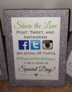 Social Media Hashtag Framed Wedding Sign by BlingSparklesOhMy Wedding Frames, Wedding Pics, Diy Wedding, Wedding Reception, Wedding Ideas, Wedding Bells, Wedding Decor, Wedding Stuff, Dream Wedding