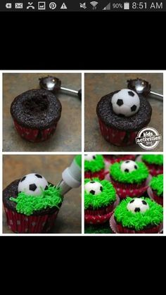 Soccer cupcakes. Might need these one day