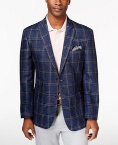 Tommy Hilfiger Men's Blue Windowpane Classic-Fit Sport Coat
