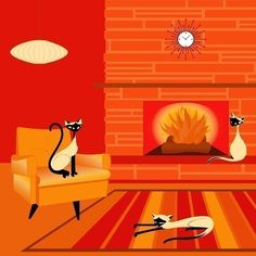Fire Cats - Siamese Cats Modern Art Print by Kerry Beary - Giclee.