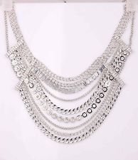 Unique Jewelry - Crystal Choker Bib Statement Ethnic pendant Chain Glass silver long Necklaces 68
