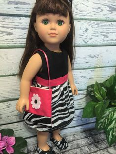 18 Doll Clothes Zebra and Pink Doll Dress by sassydollcreations