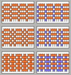 1º diseño corresponde al ligamento tafetan     2º diseño corresponde al ligamento raso     3º diseño corresponde al ...