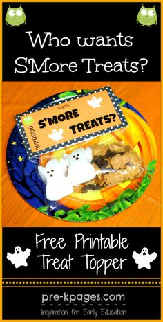 Free Printable Halloween S'mores Treat Bag Topper