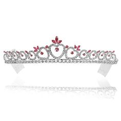 Crystal Heart Pattern Bridal Wedding Prom Party Tiara Crown  Pink Crystals Silver Plating >>> Read more reviews of the product by visiting the link on the image.(This is an Amazon affiliate link and I receive a commission for the sales)