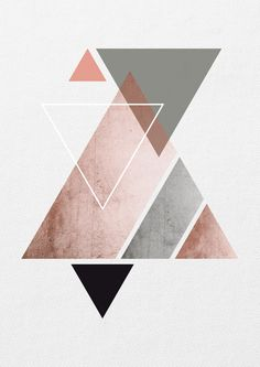 "New Screen Triangle Art Print. Abstract Scandinavian Style Ideas ""The Fantastic – what seems like pomp and luxurious is related to extravagant life styl Minimalistic Design, Geometric Shapes Art, Geometric Designs, Copper And Grey, Triangle Art, Triangle Design, Kunst Poster, Shape Art"