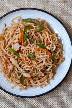 Vegetable Noodles Recipe – Indo Chinese Veg Noodles Recipe – Famous Last Words Vegetarian Chinese Recipes, Chinese Noodle Recipes, Vegetarian Cookbook, Indian Food Recipes, Asian Recipes, Ethnic Recipes, Vegetarian Dish, Asian Foods, Veg Noodles Recipe