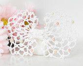 White Lace & Beads Hair Bow Clip, Bridal Hair Clip, First Communion Hair Bow, Girls, Women Hair Clip Accessory