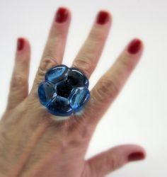 Anel de Vidro Azul transparente  base metal n 19  3,5 cm diam