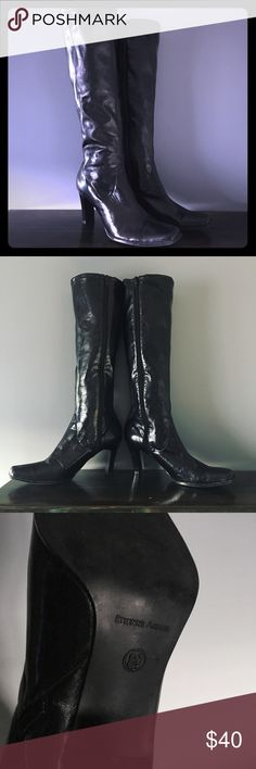 9427f84bf748 Tall leather black boots in great condition! I have an EA Trench Coat also  listed in my closet. So chic and trendy!