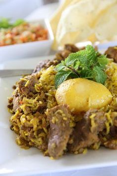 Solly Manjra's mutton biryani. South African Dishes, South African Recipes, Indian Dishes, Spicy Recipes, Curry Recipes, Indian Food Recipes, Asian Recipes, Veg Dishes, Rice Dishes