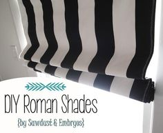 Home : DIY Black and White Stripe Roman Shades - How to make Roman Shades using Mini-Blinds