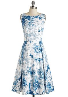 Make the Cotillion Dress - Long, Cotton, Woven, White, Blue, Floral, Print, Pockets, Wedding, Daytime Party, Fit & Flare, Cap Sleeves, Spring