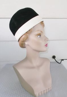 1960s Vintage Black & White Velour and Leather by MyVintageHatShop