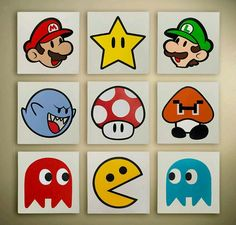 Super Mario & Pac Man wall art