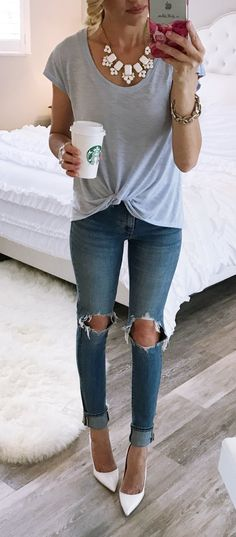 #spring #fashion #ootd... In Love With This T-shirt! Grey Tee & Destroyed Skinny Jeans & White Pumps