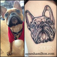 Woof woof! We love turning pet portraits into forever works of art. This adorable lil' buddy is now a permanent of their owners life thanks to Agnes Hamilton (@aggie.q.tattoo)! 🐶  Follow us! adornbodyart.tumblr.com Facebook.com/adorneast Instagram: @adornbodyart