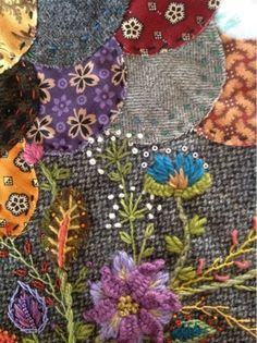 Embroidered Quilts, Applique Quilts, Embroidered Flowers, Silk Ribbon Embroidery, Embroidery Applique, Cross Stitch Embroidery, Crazy Quilt Blocks, Crazy Quilting, Fabric Art