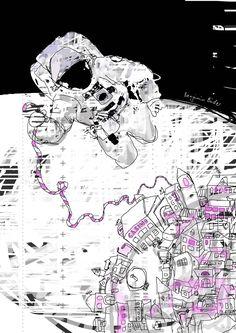 Illustration aus dem Richtungsding Rakete zu einem Text von Katja Schraml.