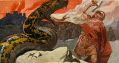 Thor kämpft gegen die Weltenschlange (Emil Doepler, ca. 1905).