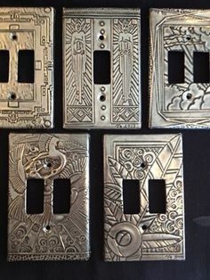 at The Pewter Room by Joanne - light switch covers . Aluminum Foil Art, Aluminum Can Crafts, Metal Crafts, Tin Foil Art, Tin Can Art, Tin Art, Soda Can Art, Pewter Art, Pewter Metal