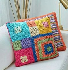 granny square patchwork pillow