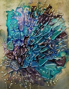 by lizzywurmann.typepad.com embossed metal and alcohol ink