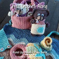 Fold Up Teddy Crochet Play Sets | Free Crochet Along | Creative Crochet Workshop #crochet #crochetalong #crochetplay