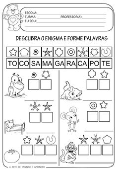 Atividade pronta - Formação de palavras Math Activities For Kids, Teaching Kids, Kids Learning, Portuguese Lessons, Learn Portuguese, Autism Resources, School Worksheets, Spanish Language Learning, Literacy