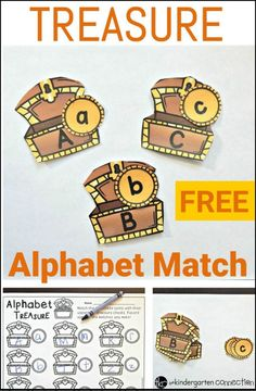 A fun, FREE alphabet match with a treasure theme! Preschool Pirate Theme, Pirate Activities, Autism Activities, Preschool Literacy, Alphabet Activities, Preschool Alphabet, Kindergarten Literacy, Educational Activities, Upper And Lowercase Letters