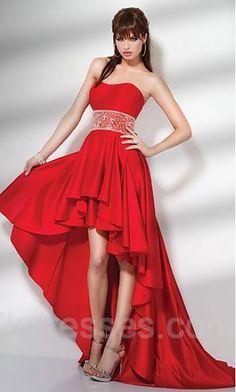 Satin Strapless Short Sleeveless A-Line Evening Dresses ykdress3982