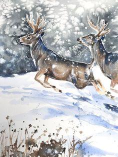 Mule Deer on the Run - 3 Deer Paintings, Watercolor Paintings, Original Paintings, Watercolor Christmas Cards, Mule Deer, Christmas Paintings, Vintage Illustrations, Winter Scenes, Rock Painting