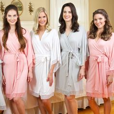 These super soft, luxurious jersey robes are perfect for getting ready on the morning of the wedding, or even for just lounging around the house! Made with ultra soft, stretch jersey material and trim