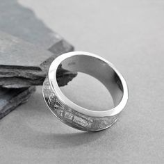 Meteorite Inlaid Silver Ring Band