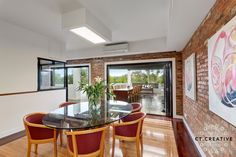 Bespoke real estate photography and video for inner city Melbourne's most prestigious properties. Table, Exposed Brick, Furniture, House, Real Estate Photography, Home Decor, Room, Dining, Dining Room